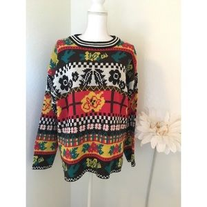 Vintage 90s Multicolor Graphic Oversized Sweater